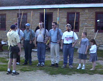 members lined up at the August 2002 drill and meeting